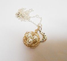 Birds Nest, Birds Nest Necklace, Nest Necklace, Moon Necklace, White Pearl, Ocean Pearl, Silver Necklace
