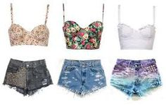 crop tops and high waisted shorts