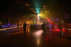 at the roller rink on ADULT night....is there such a thing around here? jesus. Adults. like to have fun too, without having to navigate around unsupervised brats.
