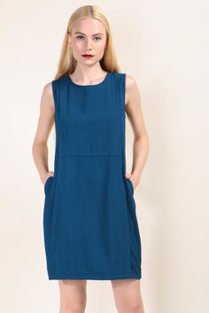 Pleated Detailed Shift Dress (Blue) SGD$ 38.00