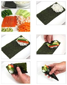 As a representative of Japanese food, sushi is arguably the most widely spread. Can be seen on tables all over the world. But traditional sushi has high requirements on ingredients and technology. Let's explore its simplified version. Sushi Party, Snacks Für Party, Japanese Dishes, Japanese Food, Asian Recipes, Healthy Recipes, Easy Sushi Recipes, Sushi At Home, Sushi Love