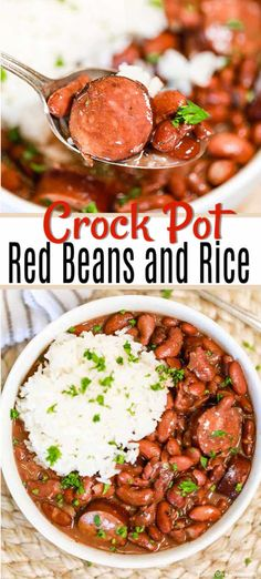 Crock Pot Red Beans and Rice Recipe is a one pot meal full of flavor and budget friendly. This meal is so delicious with the sausage, beans and rice. Recipes crock pot Crock Pot Red Beans and Rice Recipe - easy crock pot red beans and rice Easy Rice Recipes, Healthy Crockpot Recipes, Bean Recipes, Slow Cooker Recipes, Healthy One Pot Meals, Healthy Crock Pot Meals, Red Beans And Rice Recipe Crockpot, Red Bean And Rice Recipe, Red Beans And Sausage Recipe