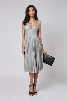 Plunge Pleated Midi Dress - Dresses - Clothing - Topshop USA