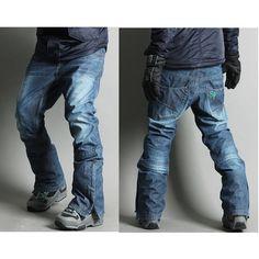 mens Winter Waterproof hip Ski-Snowboard Denim Pant