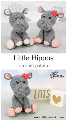 crochet animal amigurumi Easy step-by-step DIY tutorial how to crochet little Hippo. The crochet pattern consists 12 pages with text and 36 photos. Detailed description in ENGL Crochet Animal Patterns, Crochet Patterns Amigurumi, Stuffed Animal Patterns, Crochet Cat Pattern, Crocheting Patterns, Amigurumi Animals, Crochet Stuffed Animals, Easy Crochet Animals, Crochet Hippo