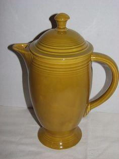 VINTAGE FIESTA IRONSTONE COFFEE POT ANTIQUE GOLD 1969-72 RETRO KITCHENWARE #FIESTA