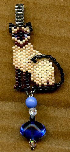#beadwork  Siamese Cat Beaded Pendant