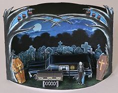 THE ORIGINAL 13 PIECE HEARSE PLAYSET.  This playset includes a hearse, coffins, headstones, a mortician,  a handy little coffin dolly, and a diarama background to display everything.
