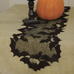 Decorate for Halloween with the eerily cute Going Batty Spiderweb Black Lace Table Runner. This fine-gauge lace polyester accent features bats and spiderwebs. Halloween Kitchen, Halloween Home Decor, Halloween House, Holidays Halloween, Halloween Crafts, Happy Halloween, Halloween Ideas, Halloween Bedroom, Halloween Dishes