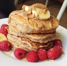 healthyeatingwithflo:  Fluffy vegan pancakesIngredients: ¼ cup spelt flour, ¼ cup buckwheat flour, heaped tsp baking powder, 1 ripe banana, 1 flax egg (Combine 2 tbsp flax seed and 6 tbsp water and leaves in fridge overnight or for 30 minutes), ½ cup almond milk, 1tsp coconut sugar (you can leave this out).Method: Combine the flour and baking powder in a bowl. Mash 2/3rds of the banana finely and mix in the 'flax egg' and the milk. Grease a pan and put on a low-medium heat. Combine the wet…