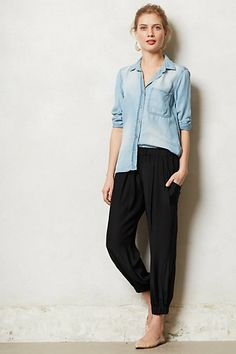 Very pretty, I like to the pink too. Cinched Silk Trousers  anthropologie  Comfy 009d9f7da6ee