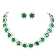 Elegant Star Round Prong Emerald Color May Birthstone Jewelry Set Sapphire And Diamond Earrings, Emerald Necklace, Birthstone Necklace, Beaded Necklace, I Love Jewelry, Jewelry Sets, Women Jewelry, Jewelry Trends, Unique Jewelry