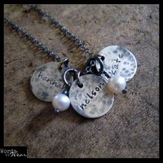 Custom Name Three Charm Hammered Rustic Silver and Pearl Necklace