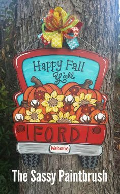 Fall pick up truck Tractor Crafts, Truck Crafts, Door Hanger Template, Painting Burlap, Pumpkin Door Hanger, Fall Door Hangers, Halloween Items, Happy Fall Y'all, Dollar Store Crafts