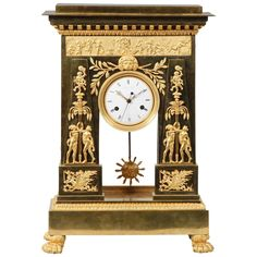 Large and Important Empire Period Ormolu Mantel Clock by Deverberie | From a unique collection of antique and modern clocks at https://www.1stdibs.com/furniture/decorative-objects/clocks/