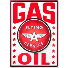 Our garage sign combo set includes the Gas Metal Sign, Flying A Service Tin Sign and 2 chunky ferrite magnets to attach them with. Truly unique retro decor for your home or business. Background sign measures 20
