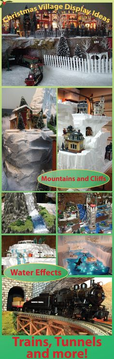 HWFF>>>Learn how to make realistic water, mountains, bridges, tunnels Christmas Village Display, Christmas Town, Christmas Villages, Christmas Scenes, Christmas Holidays, Dickens Village, Halloween Village, Xmas Decorations, Christmas Projects