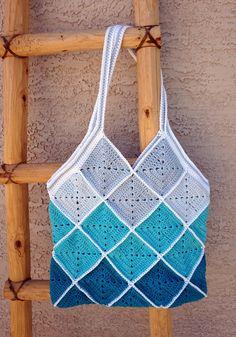 Blue Squares Cotton Crochet Beach Bag  Market  by CeraBoutique