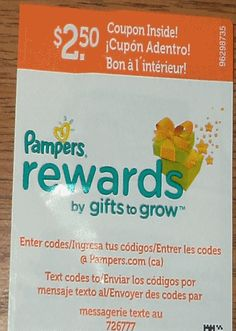 2 Pampers Rewards codes by Gifts to Grow.
