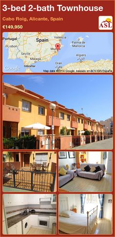 3-bed 2-bath Townhouse in Cabo Roig, Alicante, Spain ►€149,950 #PropertyForSaleInSpain
