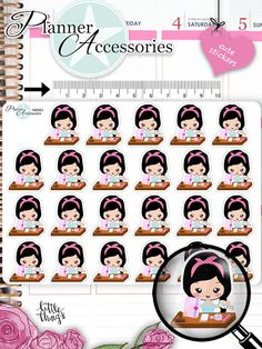 Girl Planner Stickers Planning Addicted by EmelysPlannerShop