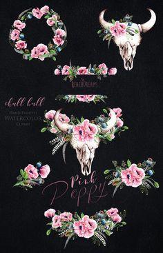 Bull Skull Tattoos, Bull Skulls, Deer Skulls, Cow Skull, Background Vintage, Paper Background, Pink Poppies, Watercolor Images, Cow Art