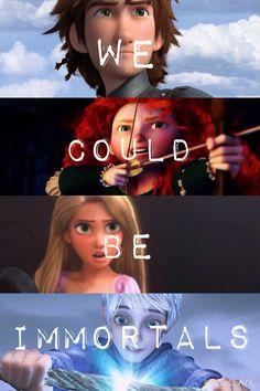 "THE BIG FOUR ""We could be immortals"" <<< except Jack is immortal already XD <<< Ssshhhhhhhh. Disney Pixar, Punk Disney, Disney And Dreamworks, Disney Animation, Disney Love, Jack Frost, Funny Disney Memes, Disney Quotes, Ps Wallpaper"