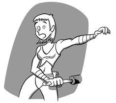 Cazadora Midalia. Ilustración sobre una viñeta de www.islamundoelcomic.com