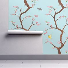 Items Similar To Chinoiserie Wallpaper Jenny Cherry Blossoms On Light Blue By Domesticate Custom Removable Self Adhesive Roll Spoonflower
