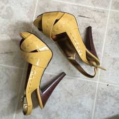 Yellow stitched heels Mint condition. Great for summer days. Fit 5.5-6NO-TRADE Chinese Laundry Shoes Heels