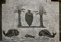 Two Palms, One Amphora and Three Fish. Paper Mosaic, Mosaic Art, Ancient Rome, Ancient Art, Famous Lighthouses, Old Best Friends, Mosaic Madness, Art Plastique, Tile Patterns