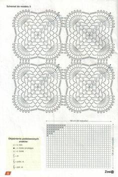 "Photo from album ""Robotki Reczne extra on Yandex. Crochet Squares, Crochet Granny, Japanese Crochet Patterns, Repeat Crafter Me, Crochet Needles, Crochet Stitches, Crochet Tablecloth, Crochet Diagram, Doilies"