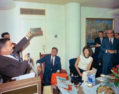 JFK & Jackie Kennedy at President's surprise 46th birthday party, The White House, May 29, 1963.