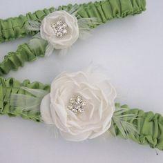 Green and Ivory Satin Feather Rose Garter Set G236  by HARTfeltart, $39.99