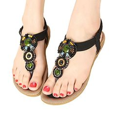 PlaidPlain Womens Clip Toe Bohemia Beaded Herringbone Flat Beach Sandals -- Check this awesome product by going to the link at the image.(This is an Amazon affiliate link and I receive a commission for the sales) #WomensFlatsSandals