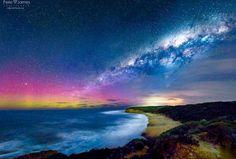 Aurora Australis & the Milky Way over #BellsBeach Victoria #Australia last night. #PeteJamesPhotography @TourismAus by lyndakinkade http://ift.tt/1KnoFsa