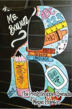 I am SO going to get one of these. Large Teacher School Door Hanger Letters on Etsy, $44.00