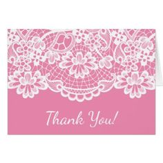Pink Vintage Lace Thank You Note Card - girl gifts special unique diy gift idea