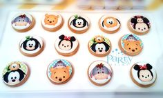 Disney Tsum Tsum baby shower party cookies! See more party planning ideas at CatchMyParty.com!