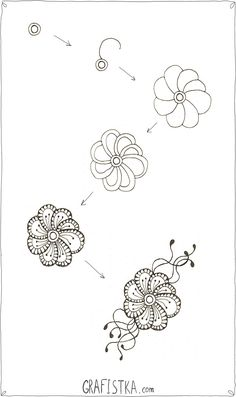 Russian: How to draw a flower for doodling