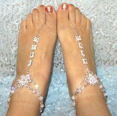 Barefoot Sandals Crystal Rhinestones Swarovski por wynnspire, $65.00