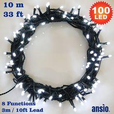 Lichterkette mit den kitschigen Blink-Blink-Modi, aber wohl nicht für Outdoor -- Lichterkette 100 Weiss betriebene LED feenhafte Lichter Ideal für Weihnachtsbaum, festliche, Hochzeits / Geburtstagsfeier Dekorationen LED Schnur Lichter - Grüne Kabel