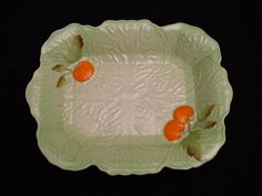 rectangular green Carlton Ware serving dish