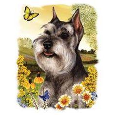 Schnauzer Dog Floral HEAT PRESS TRANSFER for T Shirt Sweatshirt Tote Fabric 832e