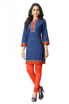 Casual Wear Cotton Printed Kurti in Blue Colour...