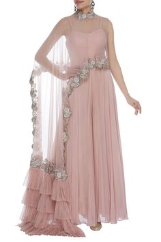 Dresses - Buy Pleated Jumpsuit With draped Ruffle Cape by Mani Bhatia at Aza Fashions Indian Gowns Dresses, Indian Fashion Dresses, Indian Designer Outfits, Pakistani Dresses, Indian Wedding Outfits, Indian Outfits, Designer Party Wear Dresses, Designer Wedding Gowns, Red Lehenga