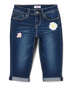 Take a look at this YMI Jeans Dark Blue Floral Patch Capri Jeans - Girls today!