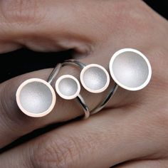 "Contemporary Jewelry  handmade silver ring "" 4 cups white "" #HandmadeSilverJewelry"