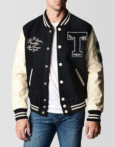 Classic letterman style jacket in black is highlighted by durable wool and genuine leather sleeves for an authentic, time honored piece. Varsity Jacket Outfit, Mens Outdoor Jackets, True Religion Men, Man Dressing Style, Camisa Polo, Outfit Grid, Men In Uniform, Polo T Shirts, Men Looks