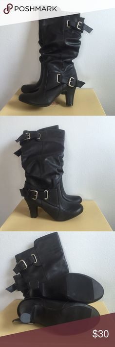 """NWOT Mossimo Supply Co. Black Heeled Boots Never worn before and in perfect condition. Come with the box they came in. Called the """"Kalyssa"""" boot. Heeled and double buckle. Mossimo Supply Co. Shoes Heeled Boots"""
